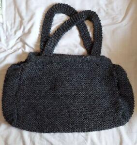Large Handmade Crochet Tote Bag Beautiful Gray With Cloth Batik Lining Boho
