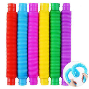 6 Pieces Mini Pop Tubes Sensory Tubes Multi-Color Stretch Pipe Relieve Stress