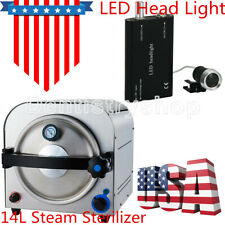 UPS Dental Lab Equipment Medical 14L Autoclave Sterilizer + LED Head Light