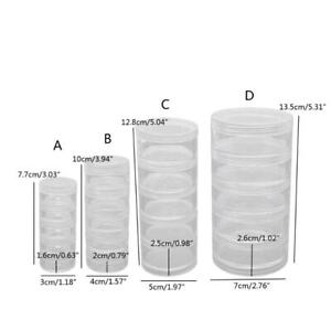 5 Layer Stackable Bead Containers Small Item Plastic Round Clear Storage Jar Box