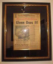 JOHN GLENN hand signed Rocky Mountain newspaper from 1962- FRAMED