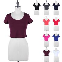 Basic Plain Short Sleeve Scoop Neck Cropped Top Casual Easy Wear Cotton S M L