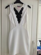 Lipsy Cream with Mesh Sides, Front & Back Bodycon Party Dress - Size 8 - BNWOT