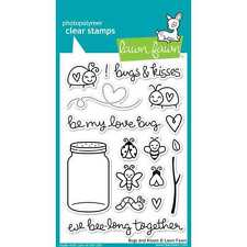 NEW LAWN FAWN BUGS & KISSES CLEAR ACRYLIC STAMP SET
