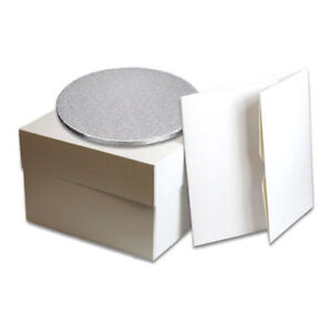 """White Cake Box with lid and Cake Board 3mm/Drum12mm thick 8""""10""""12""""14"""" & 16"""" inch"""