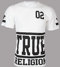 TRUE RELIGION Mens T-Shirt STARTER White with Black Print $95 Jeans NWT
