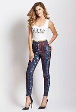Brand New Women sz 27 GUESS High-Rise 3-Zip Crop Star-Print Jeans -Neo Funk Wash