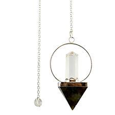 Labradorite Stone Crystal Pyramid Pendulum Dowsing Reiki Spiritual Energy