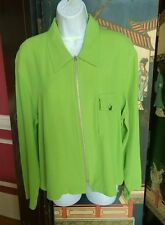 ESSAY WOMENS GREEN ZIP UP JACKET  WITH BREAST POCKET UNLINED SZ 14