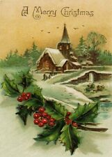 The Old Church, Reproduction Vintage Christmas Festive A3 Poster