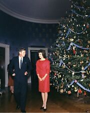President and Mrs. John F. Kennedy w/1961 White House Christmas Tree 8x10 Photo