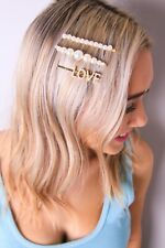 LOVE Pearl Barrettes | Faux Pearl Hair Clips for women | USA SELLER