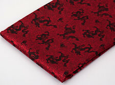 BY 1/2 YD CHINA FOLK RETRO DAMASK JACQUARD BROCADE FABRIC: BALCK DRAGON,  RED =
