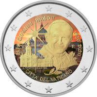 2 Euro Gedenkmünze Vatikan 2020 coloriert Farbe Farbmünze Johannes Paul 2