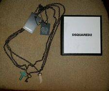 $345.00 Dsquared2  Turquoise Cross Key Horn  Three Tier Necklace Gold Tone Brass