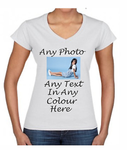 Personalised Ladies T Shirt Printing Custom Your Own Design Name Text Logo Photo
