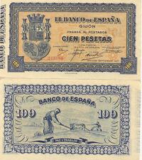 Billete. Banco de España. Gijón. Cien pesetas. Nº Serie 245989. Septiembre 1937.