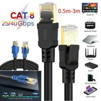 LOT 0.5m-30m Cat8 RJ45 Network LAN Ethernet Patch Lead Flat Cable 2000Mhz For PC