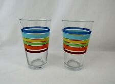 Pair of Libbey Striped Drinking Glasses 16 oz Tumbler New