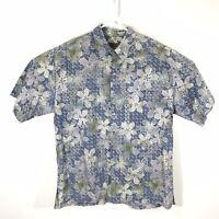 Tori Richard Hawaiian Aloha Shirt Blue Triangle Flowers Mens Large