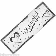 5ft GIGANTE stile cuori diamante sessantesimo anniversario Banner Party Decorazione