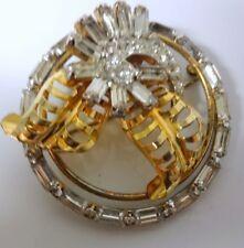 Vintage Designer Signed Diamond Paste Baget Rhinestone12k Gold Filled Pin Brooch