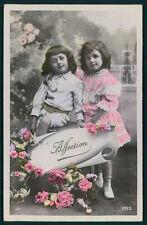 Edwardian Original old 1910s photo postcard child pretty girl boy message