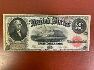 1917 US $2 Two Dollar Washington DC Legal Tender Speelman White Large Note
