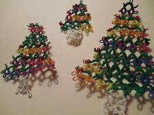 3 Tatted Holiday Christmas Trees  Gift Tag Decoration Tatting by Dove Country