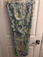 Tommy Bahama women's silk pants  blue floral Hawaiian print; excellent condition