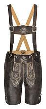 HIRSCHBERGER Trachten Vintage Lederhose kurz Gr 44-62 Nappaleder Antik graubraun