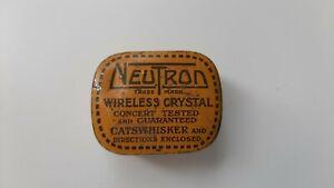 Neutron Wireless Crystal tin with x 2 crystals.  Circa 1920s.