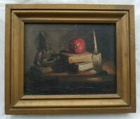 Excellent 1935 O/C Modernist Still Life, Buddha, Apple, Books, Signed Teed