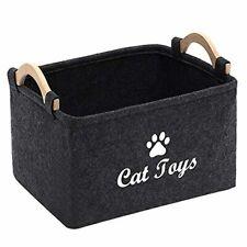 """Felt pet Toy Box Storage Basket Chest Organizer,15""""x10 4;x7""""in,Cat Dark Grey"""