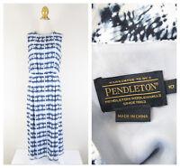 Pendleton Womens Navy White Tie Dye Midi Blouson Dress Size 10 Sleeveless