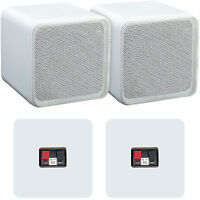 "Pair of 4"" ABS Bookshelf Speakers–80W 8Ohm–White HiFi Surround Sound Home Cinema"