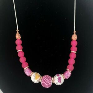 """Pink Sea Glass Bead Necklace Copper Accent Sliver Tone 24"""" Chain Floral"""