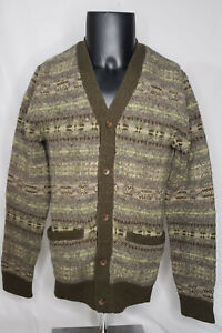 RRL Double RL Fair Isle Lambs Wool Knit Cardigan Size Small