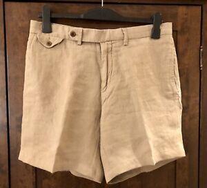Men's Ralph Lauren Beige 100% Linen Shorts- 34 Waist RRP £110.00