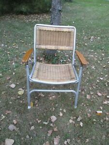 Vintage Mid Century EEZ-IN GARELICK  FOLDING FAUX WICKER LAWN CHAIR wood arms