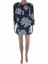 abito vestito donna corto floreale blu seta manica 3/4 taglia it 46 xl large