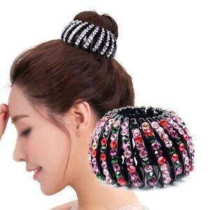 Ladies Crystal Bird Nest Ponytail Holder Fair Crab Claw Clip Hairpin Rhinestone