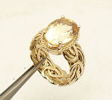 Size 8 Oval Cut Genuine Citrine Byzantine Band Ring REAL 14K Yellow Gold QVC