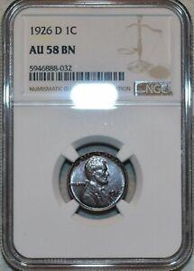 NGC AU-58 BN 1926-D Lincoln Cent, Sharp, lustrous specimen.