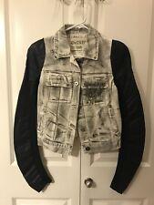 New: White Washed Denim Moto Jacket Blazer With Faux Leather sleeve, size M