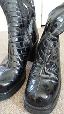 GUESS Black Leather Faux Croc Fashion Mid-Calf Ankle Boots Shoes Woman Size 7