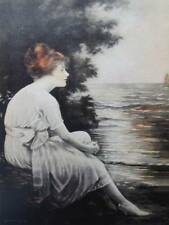 Lady at the Sea Vintage art by Adelaide Hiebel
