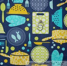 BonEful Fabric FQ Cotton Quilt Gray Blue Dot VTG Bowl Fish Sm Kitchen Baker Chef