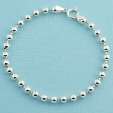 """4MM Sterling Silver Ball Chain Bracelet With Springring Clasp 7"""" Length"""