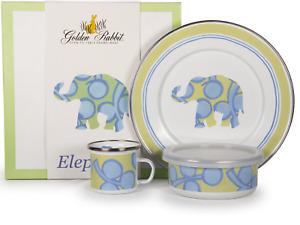 EL99 -  Enamelware Elephant Pattern Child Dinner Set by Golden Rabbit